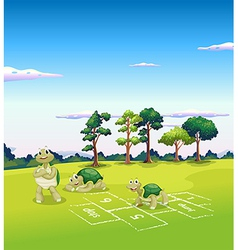 Tree turtles playing vector image
