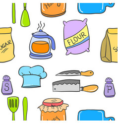 collection stock kitchen set colorful style vector image