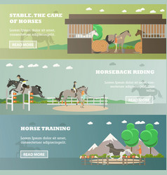 set of riding horizontal banners in flat vector image
