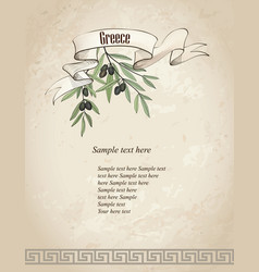 vintage olive branch background vector image