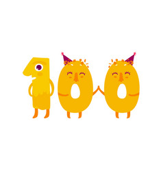 Cute animallike character number hundred vector