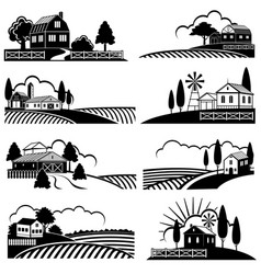 vintage countryside landscape with farm scene vector image