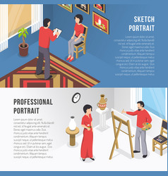 Artist and portrait isometric banners vector