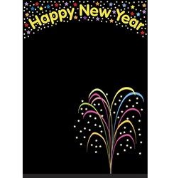 Happy new year on black vector