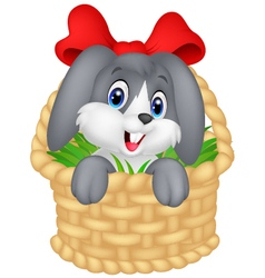 Little cartoon rabbit sitting in a bucket vector