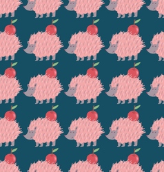 Lovely hedgehog carrying an apple seamless pattern vector