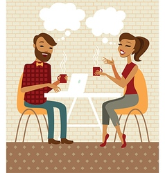 Young couple talking and drinking coffee vector
