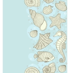 Seamless pattern with ocean shells vector