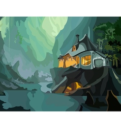 Cartoon fantastic house on a cliff vector