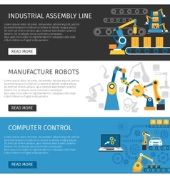 Industrial assembly line flat banners set vector