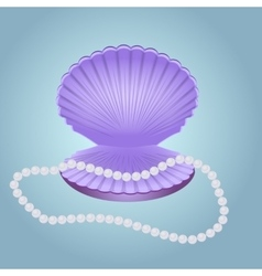 Shell with pearl beads vector