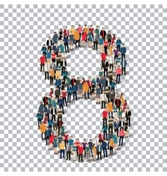 People number alphabet 3d vector