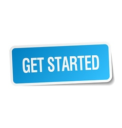 Get started blue square sticker isolated on white vector