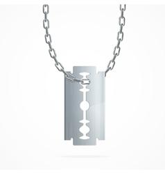 Razor blade on silver chain vector