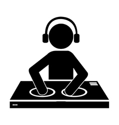 Dj avatar playing music graphic vector