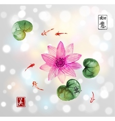 Lotos flowers and little fishes in pond vector image