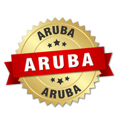 Aruba round golden badge with red ribbon vector