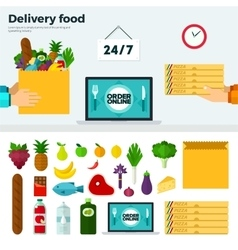 Banner and Icons of Delivery Food vector image