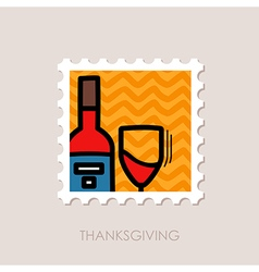 Bottle of wine and glass stamp thanksgiving vector