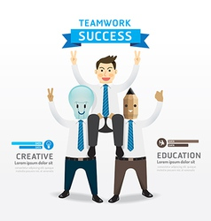 businessman cartoon Infographic Teamwork of succes vector image vector image