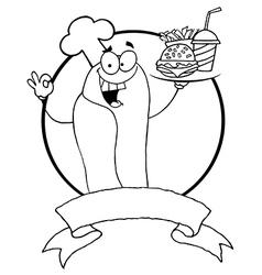 Cartoon hot dog chef vector