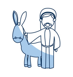 Cartoon joseph and donkey together standing line vector