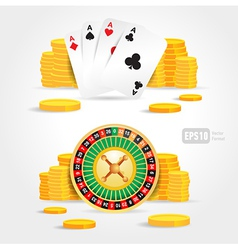 casino roulette money poker cards game set vector image