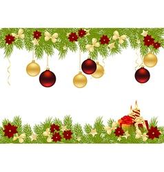christmas pine frame 1011 02 vector image vector image