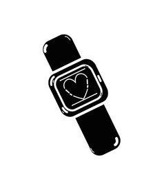 Contour cute smartwatch technology with fitness vector