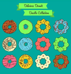 Delicious Donuts Doodle Collection vector image vector image