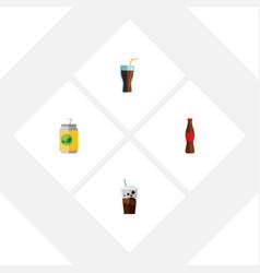 Flat icon beverage set of juice fizzy drink vector