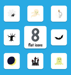flat icon halloween set of spinner crescent vector image