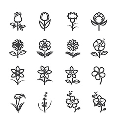 Flower Icons for Pattern vector image vector image