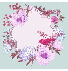 Gentle spring floral bouquet with birds vector