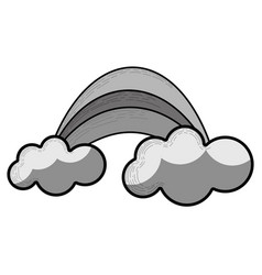 grayscale rainbow with cloud cartoon icon vector image