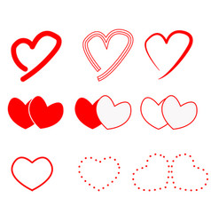 hearts icon on white background hearts sign flat vector image