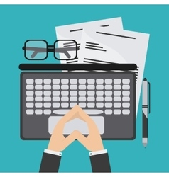Laptop document glasses pen icon vector