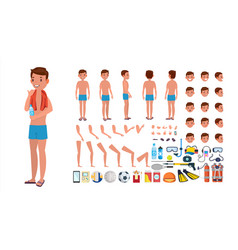 Man in swimsuit animated male character in vector