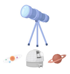 Observatory with radio telescope planet mars vector