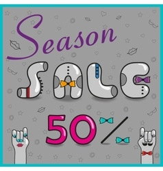 Season sale fifty percents vector