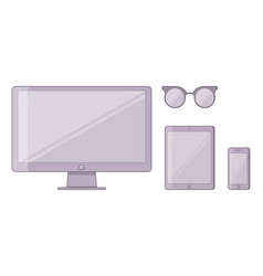 set of of monoblock monitor vector image