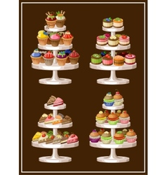 Set of sweets on plates vector image vector image