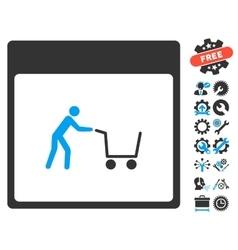 Shopping Cart Calendar Page Icon With Bonus vector image