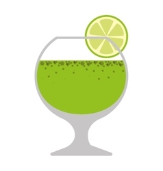 silhouette colorful with drink in glass and lemon vector image