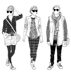 Stylish male and female street fashion vector