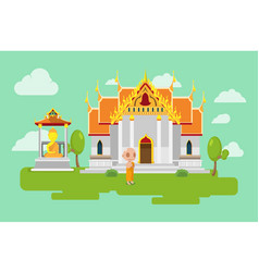 Thai temple lifestyle culture background vector
