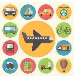 Transportation icons set flat design vector image vector image