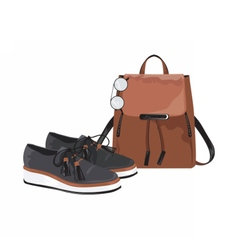 Vintage leather bag and shoes set vector