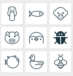 Zoology icons set collection of fish duck goose vector