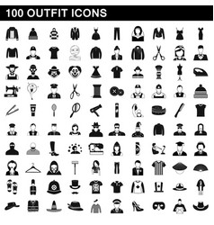 100 outfit icons set simple style vector image vector image